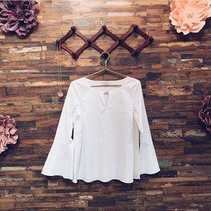 ELLEN TRACY | NWOT White Bell Sleeve Blouse |